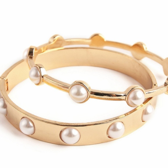 Inspired Closet Jewelry - 3 for $25 • Faux Pearl Gold Bangle Set